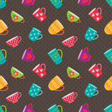 Tea cups pattern Royalty Free Stock Photo