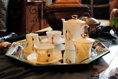 Tea cups with a pot Royalty Free Stock Photography