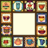 Tea cups and pots frame hand drawn design. Royalty Free Stock Photography