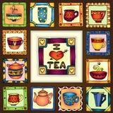 Tea cups and pots frame hand drawn design. Stock Photos