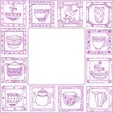 Tea cups and pots frame hand drawn design Royalty Free Stock Photos