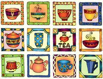 Tea cups and pots frame hand drawn design Royalty Free Stock Photography