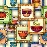Tea cups and pots frame unique design. Stock Image