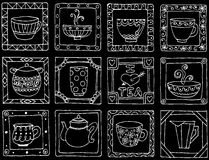 Tea cups and pots frame unique design. Stock Images