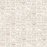 Tea cups and pots frame unique design. Royalty Free Stock Images