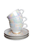 Tea cups and saucers Stock Photo