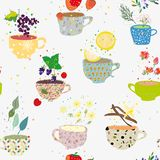 Tea cups seamless pattern with many sorts, retro style. Vector illustration. Tea cups seamless pattern with many sorts, retro style. Vector graphic illustration stock images