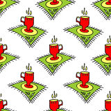 Tea cups seamless pattern Royalty Free Stock Photo