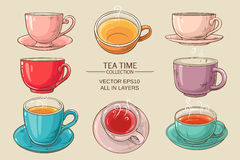 Tea cups set color. Tea cups vector set on color  background Stock Image