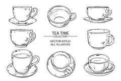 Tea cups set. Tea cups vector set on white  background Stock Photography