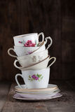 Tea cups. Stack of a variety of flower tea cups Royalty Free Stock Photography