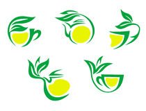 Tea cups symbols with lemon Royalty Free Stock Image