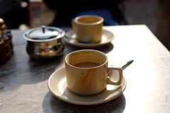 Tea cups on a table Royalty Free Stock Photography