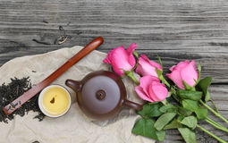 Tea cups with teapot and flower Stock Image