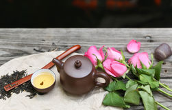Tea cups with teapot and rose flower Royalty Free Stock Photography