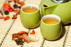 Tea cups with teapot Royalty Free Stock Image