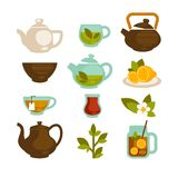Tea cups, teapot and teabags vector icons set for menu. Tea logo templates. Green tea cups or mugs, brew teapot and herbal and fruit teabags with sliced lemon Stock Image