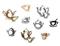 Tea cups and teapots Royalty Free Stock Photography
