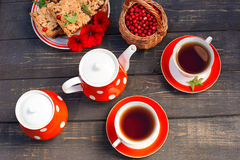 Tea cups top view. Tea time for party. Tea set red polka-dot, co Royalty Free Stock Image