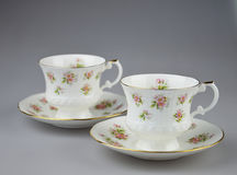 Tea cups. Two fine china cups.  Photos taken March 2014 Stock Photo