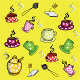 Tea cups vector pattern (background, texture) Royalty Free Stock Images