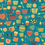 Tea cups vector seamless pattern background teal. Tea time cups, teapot, spoons, cupcakes. Hand drawn. Cute retro print for royalty free illustration