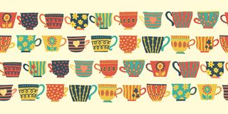 Free Tea Cups Vector Seamless Pattern Border Beige Royalty Free Stock Photo - 134553975