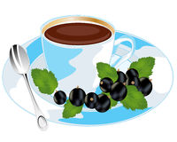 Tea with currant. Aromatic tea with sheet of the currant on white background is insulated Royalty Free Stock Image