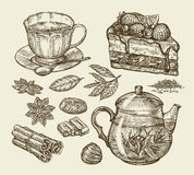 Tea, dessert, food. Hand drawn pie, pasty, piece of cake, cup, teapot, anise, cinnamon, chocolate sweets. Sketch vector Stock Image