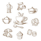 Tea and dessert pastry sketch Stock Photo