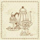 Tea and Desserts - Vintage Menu Card Stock Photos
