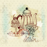 Tea and Desserts - Vintage Menu Card. In Stock Photos