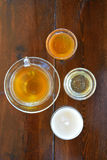 Tea with different types of honey Stock Images