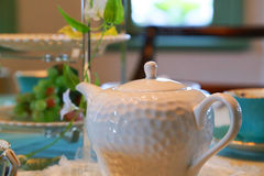 Tea dishes on the table Stock Photo
