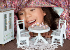 Tea in a dollhouse Royalty Free Stock Photo