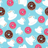 Tea and donuts seamless background pattern Stock Photo