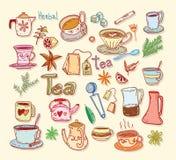 Tea doodle sketch elements.Hand drawn vector illustration. Royalty Free Stock Photos