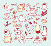 Tea doodle sketch elements.Hand drawn vector illustration. Royalty Free Stock Photography
