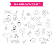 Tea doodle vector elements. Hand drawn vector illustration of tea doodles sketch elements. Isolated on white background Stock Image