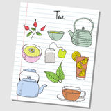 Tea doodles - lined paper Stock Images