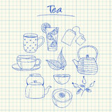 Tea doodles - squared paper Royalty Free Stock Images