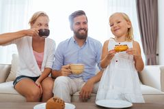 Tea with doughnuts Royalty Free Stock Photo