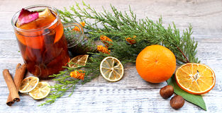 Tea with dried fruits, citrus and cinnamon Stock Images