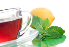 Tea drink with mint and lemon Royalty Free Stock Image