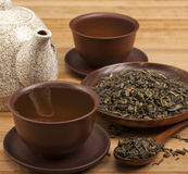 Tea drink. Tea things on the table stock photos