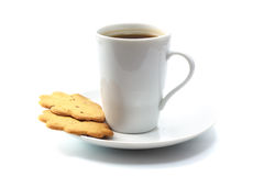 Tea drinking. Cup of tea with cookies isolated on white Royalty Free Stock Photo