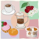 Tea drinking with cakes and sweets Stock Photos