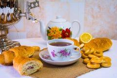 Tea drinking, samovar tea Stock Photos