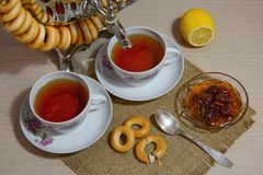 Tea drinking from samovare Royalty Free Stock Photos
