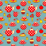 Tea drinking seamless pattern Royalty Free Stock Image